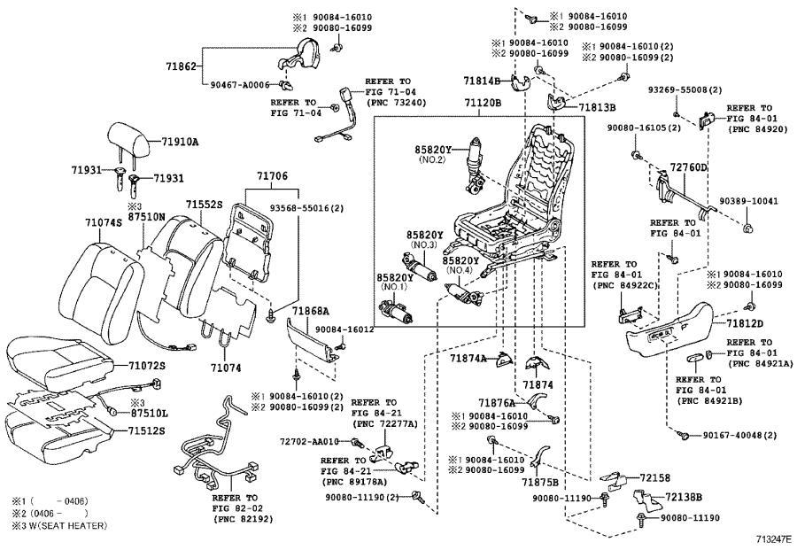 reclining seat diagram toyota